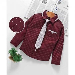 Little Kangaroos Full Sleeves Printed Party Wear Shirt With Tie - Maroon