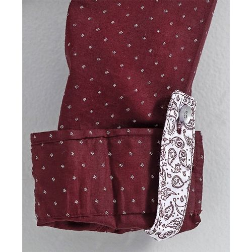 Little Kangaroos Full Sleeves Printed Party Wear Shirt With Tie - Maroon