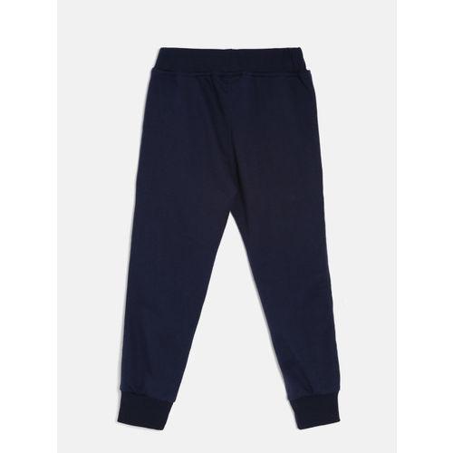 Little Kangaroos Boys Navy Blue Solid Jogger Trackpants