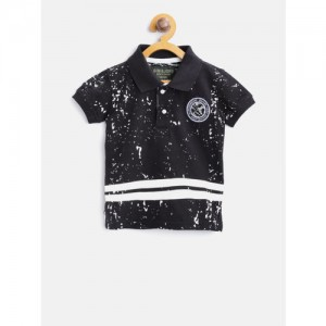 Gini and Jony Boys Black Printed Polo Collar T-shirt