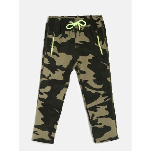 Little Kangaroos Boys Olive Green & Black Straight Fit Trackpants