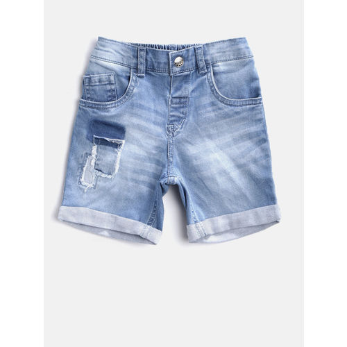 Gini and Jony Boys Blue Washed Regular Fit Denim Shorts