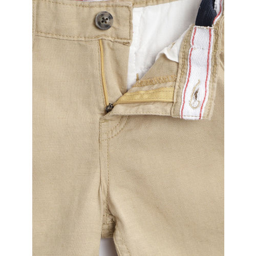 Gini and Jony Boys Beige Solid Regular Fit Shorts