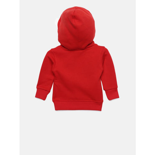Little Kangaroos Boys Red Solid Hooded Sweatshirt