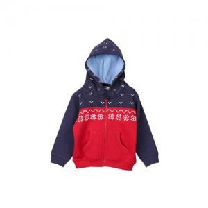Beebay Boys Red Printed Hooded Sweatshirt