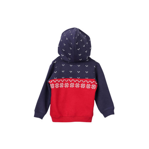 Beebay Boys Red Printed Hooded Sweatshirt