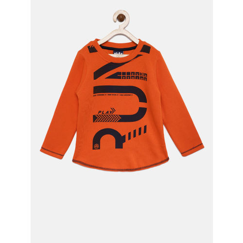 Little Kangaroos Boys Orange Printed Sweatshirt