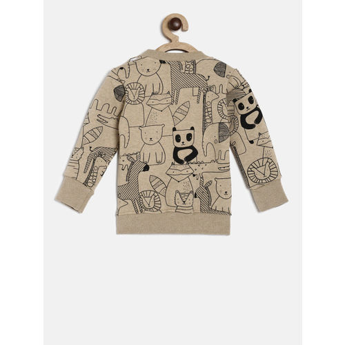 Little Kangaroos Boys Khaki Printed Sweatshirt