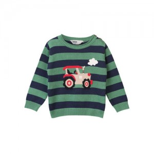 Beebay Green & Navy Striped Sweater