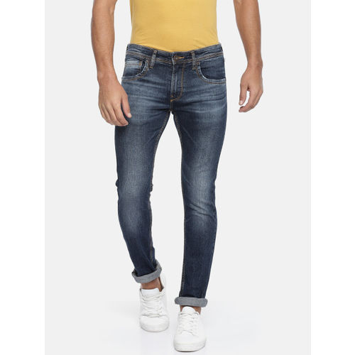 Pepe Jeans Men Blue Bran Cane Skinny Fit Low-Rise Clean Look Stretchable Jeans