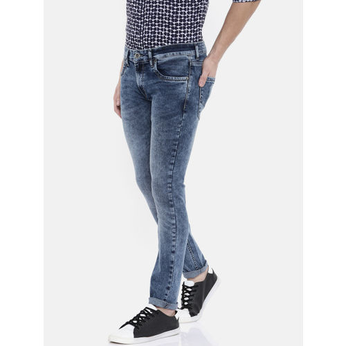 Pepe Jeans Men Blue Slim Fit Mid-Rise Clean Look Stretchable Jeans
