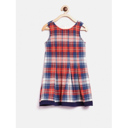 Nauti Nati Navy Blue & Red Polyester Checked Layered A-Line Dress