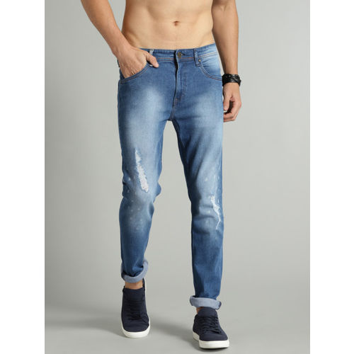 Roadster Men Blue Skinny Fit Mid-Rise Low Distress Stretchable Jeans