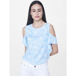 AND Blue Printed Blouse