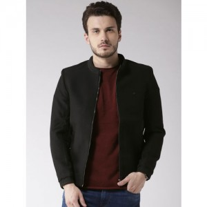 Fort Collins Men Black Solid Bomber Jacket