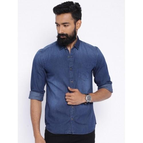a798c91b8a8 Buy Highlander Blue Slim Fit Denim Shirt online