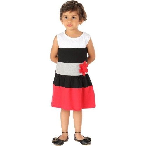 Lil Orchids Striped Cotton Girl's A-line Dress