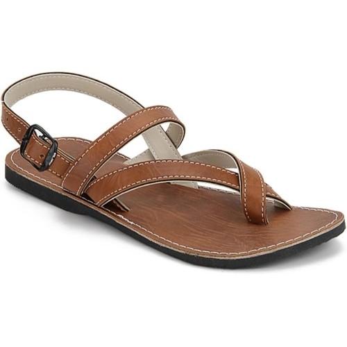 231336f2bab9 Buy Paduki Brown Leather Solid Men Sandals online