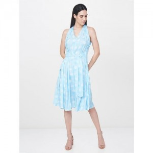 AND Women Turquoise Blue & White Printed A-Line Dress
