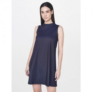 AND Women Navy Blue Solid A- Line Denim Dress