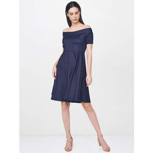 AND Women Navy Blue Solid A-Line Dress