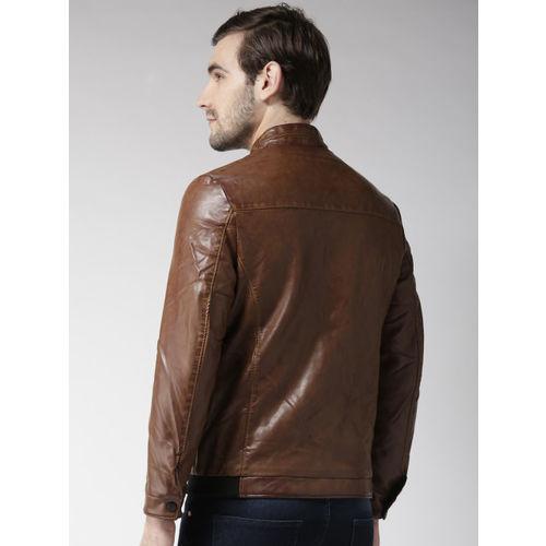Fort Collins Men Brown Solid Biker Jacket