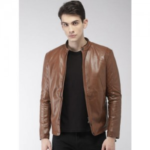 Fort Collins Men Brown Solid Biker Jacket
