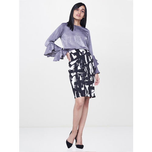 AND Women Black & White Printed Pencil Skirt