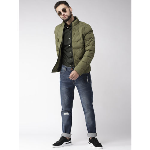 Fort Collins Men Olive Green Solid Padded Jacket