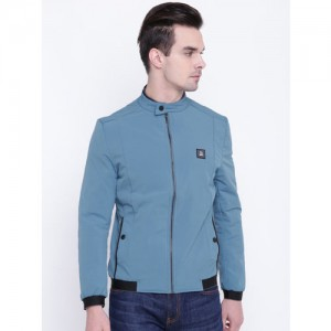 Fort Collins Men Blue Solid Bomber Jacket