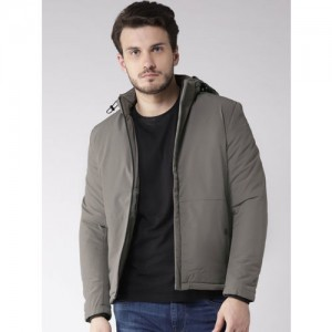 Fort Collins Men Grey Solid Tailored Jacket with Detachable Hood