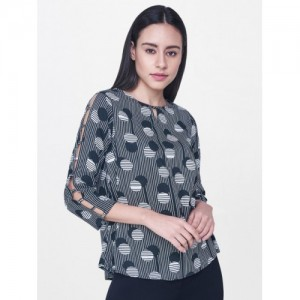 AND White & Black Cotton Printed Slim Fit Casual Top