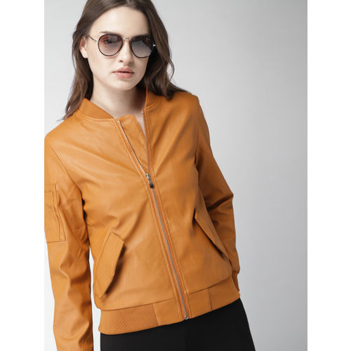 Harvard Women Orange Solid Biker Jacket