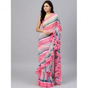 Inddus Multicoloured Chiffon Ruffle Striped Saree  With Blouse