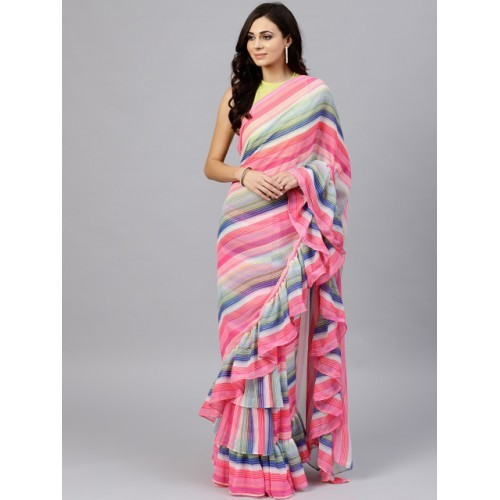 Inddus Multicoloured Chiffon Ruffle Striped Saree  With Blouse