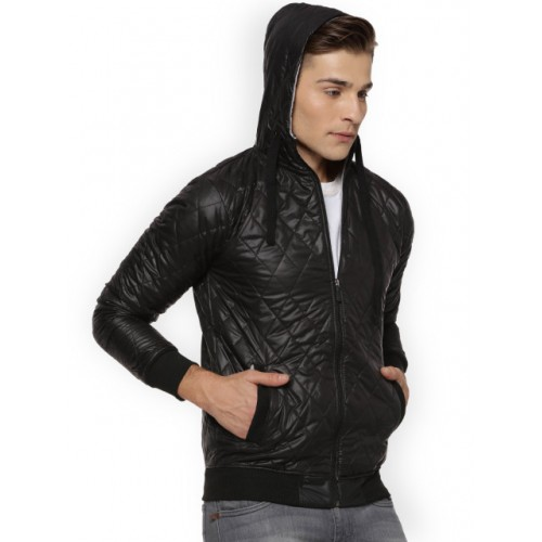 Campus Sutra Black Self Design Quilted Jacket