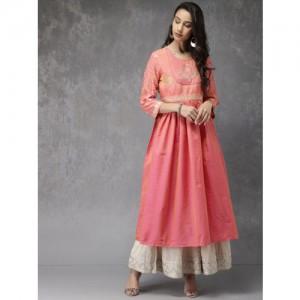 Anouk Women Pink Yoke Design Anarkali Kurta