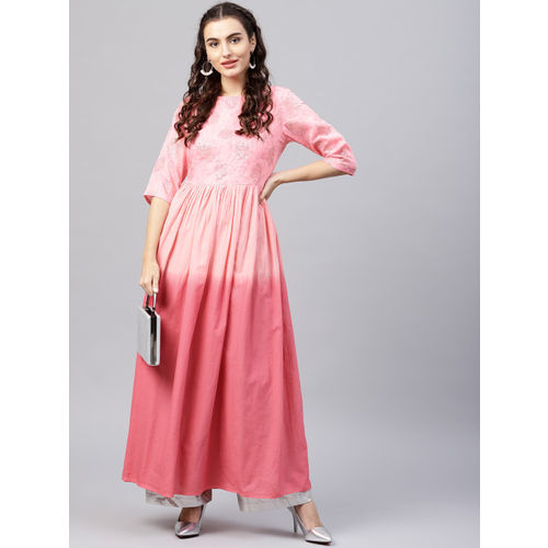 Nayo Women Pink Dyed A-Line Kurta