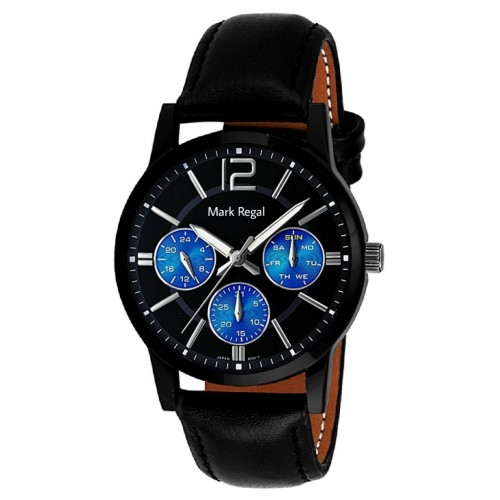 Mark Regal Black Leather Strap Analog Watch For Men