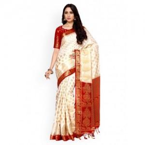 MIMOSA Off-White Art Silk Woven Design Kanjeevaram Saree With Blosue