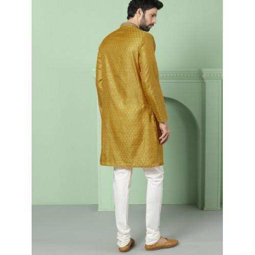 House of Pataudi  Mustard & Gold-Toned Woven Design Straight Kurta
