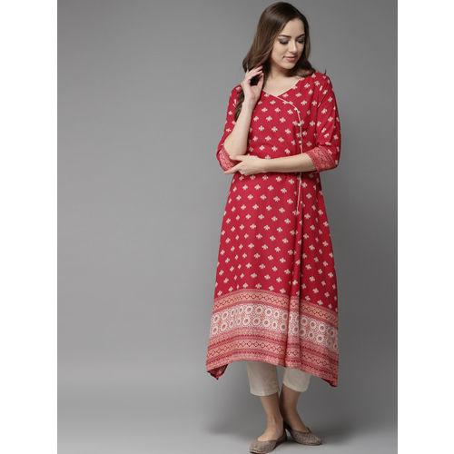 Moda Rapido Women Red & Beige Printed A-Line Kurta