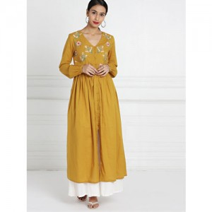 all about you All About You from Deepika Padukone Women Mustard Embroidered A-Line Kurta