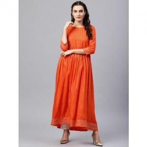Nayo Women Orange & Golden Printed Anarkali Kurta