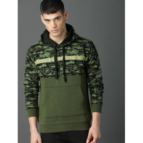 Roadster Olive Green & Black Printed Hooded Sweatshirt