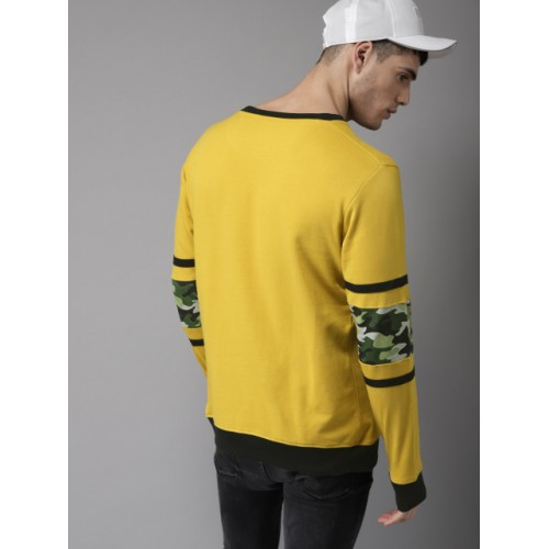 Moda Rapido Mustard Yellow Cotton Printed Sweatshirt