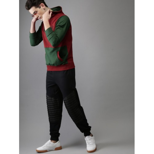 HERE&NOW Men Red & Green Colourblocked Hooded Sweatshirt
