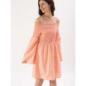 DressBerry Peach-Coloured Solid Fit and Flare Dress