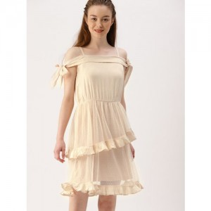 DressBerry Women Peach-Coloured Self Design Fit and Flare Dress
