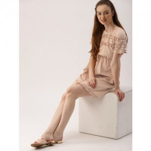 DressBerry Peach-Coloured Solid A-Line Dress